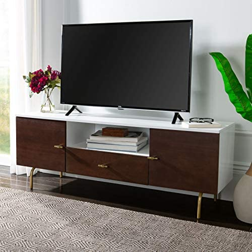 Safavieh Home Genevieve Mid-Century Modern Walnut and White Storage TV Media Stand