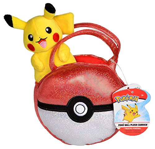 Pokemon Poke Ball Plush Purse, Comes with Cute Mini Pikachu Plush -