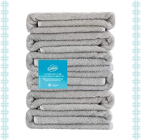 Cotwell Luxury Turkish Towels for Bathroom - 700gsm Premium Hotel & Spa Quality with Washcloths and Hand Towels - 100% Ring Spun Turkish Cotton (Grey, 6pcs Bath Towel Set)