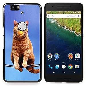 - Cat Bird Sitting Branch Yellow Ginge Beak - Caja del tel????fono delgado Guardia Armor- For Huawei Nexus 6P Devil Case