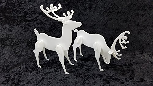 Reindeer Display - Decorative Acrylic Deer Standing - 2 Pack Christmas Reindeer Display - Tabletop - Designed after Popular Yard Deer - White or Black
