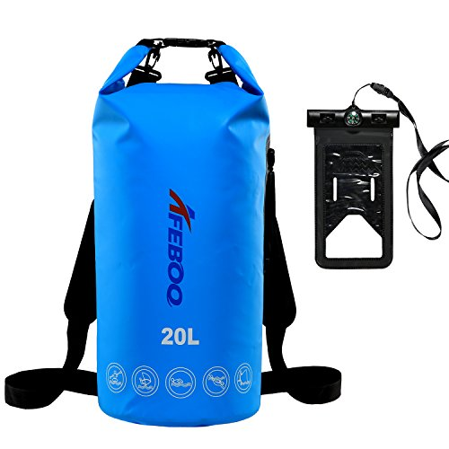 Afeboo-Waterproof Dry Bags 10L ,Waterproof bag With Waterproof Phone Sack & Single adjustable Shoulder Strap.This dry bag Perfect for Kayaking, Beach,Boating,Canoeing,Fishing,Rafting,Swimming,Camping.