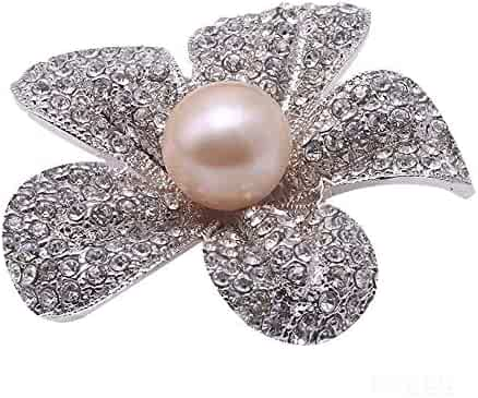c892d854470 JYX Pearl Flower Brooch 13.5mm Pink Freshwater Cultured Pearl Bridal Brooch  Pin for Women