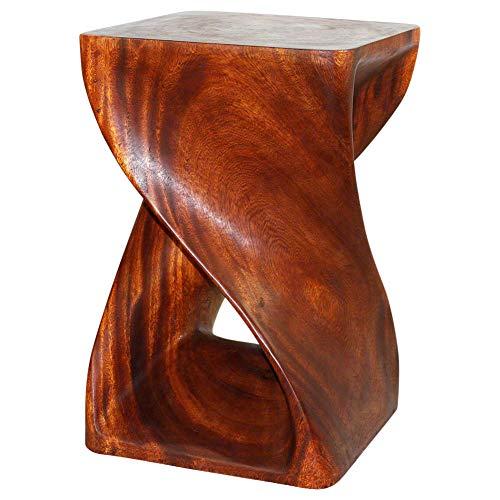 Haussmann Original Wood Twist End Table 15 x 15 x 23 in H Livos Cherry Intensive