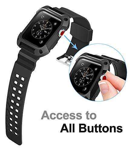 Apple Watch Band 42mm, Ocyclone Apple Watch Series 3 42mm Band iWatch 3/2/1 Sport Protective Bumper Case Strap Replacement for Active Style Men and Women by OCYCLONE (Image #4)