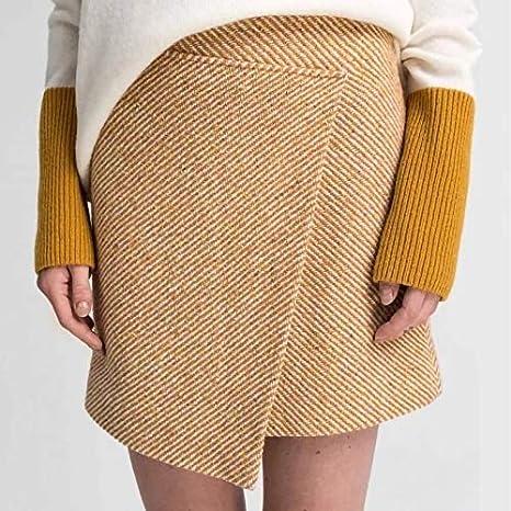 DQHXGSKS Faldas de Lana asimétricas para Mujer Cintura Alta Mini ...