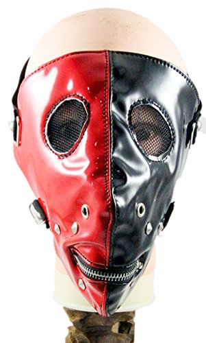 Shu li Men's and women's new black and red two-sided zipper punk rock show hit nail mask by Shu li