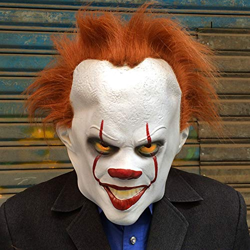 Halloween Exposed Teeth (Adult Clown Mask with Hair and Exposed Teeth for Halloween Costume, Easter, Theme Party)