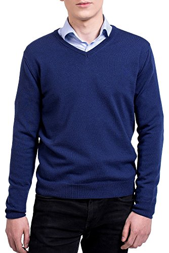 KNITTONS Men's 100% Merino Wool Extra Fine Classic V-Neck Sweater Long Sleeve Pullover (X-Large, Navy Blue) (Wool Gauge Merino Fine)