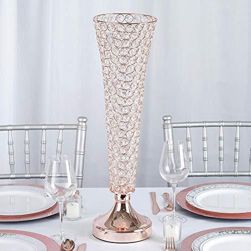 (Efavormart Set of 2 Tall Rose Gold Beaded Crystals Trumpet Floral Vase Wedding Centerpiece 23