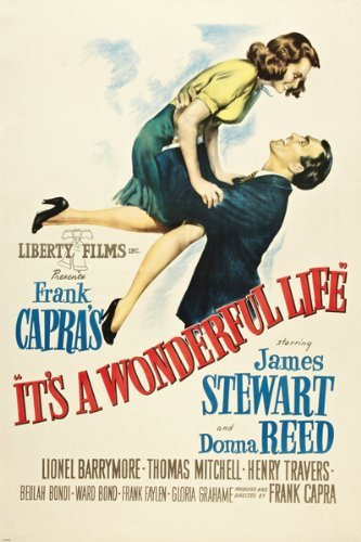 HSE Classic It's a Wonderful Life Movie Poster Jimmy Stewart Donna Reed 24X36 (Reproduction, not an ()