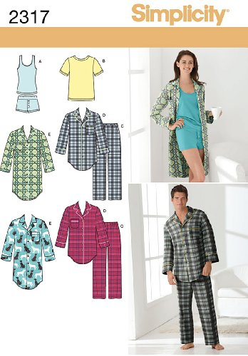 Simplicity Sewing Pattern 2317 Misses' and Men's Sleepwear, A (8 -18 / XS -XL)