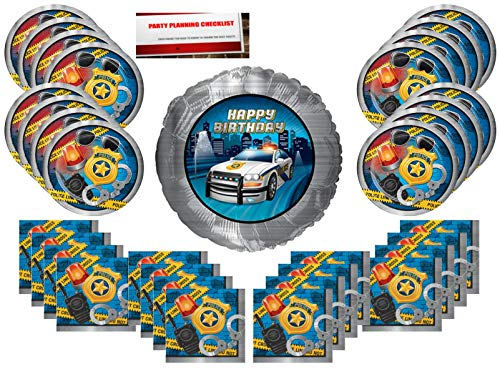 Police Birthday Party Supplies Bundle Pack for 16 guests (Bonus 17 Inch Balloon Plus Party Planning Checklist by Mikes Super Store) -