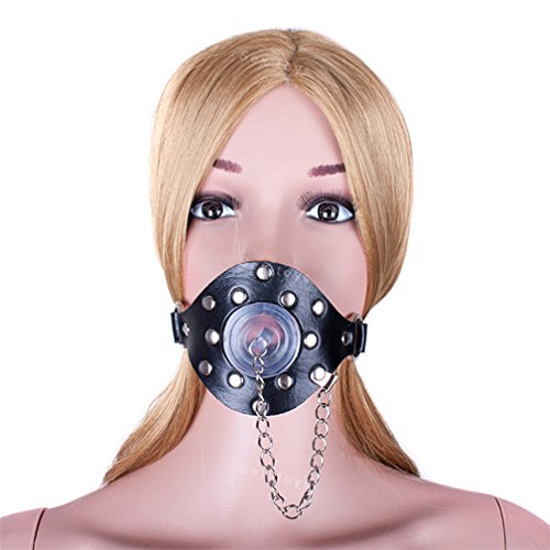 FST Leather Mask O-Ring Mouth Gag Plug With Cover Oral Sex Products Sex Toys for Couples Women Fetish Sex Game Gag Bondage Restraint,Black