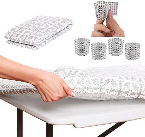 ATK ESSENTIAL PRODUCTS Best Waterproof Elastic Edged Vinyl Fitted Table Cloth for Travel, Picnics,Parties and Outdoor.Fits 6 ft. Folding Table 30 x 72 Silver Patterned 6ft