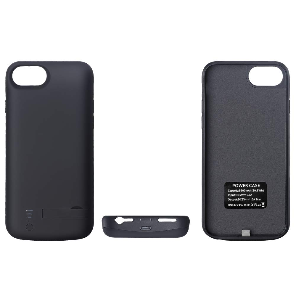V-EWIGE 5500mAh Protective and Portable Charging Case 2-in-1 Charger Case for iPhone 6//7//8 Support Listening Music//Data Transmission//Charging Black Battery Case for iPhone 8 iPhone 6//7//8 Black