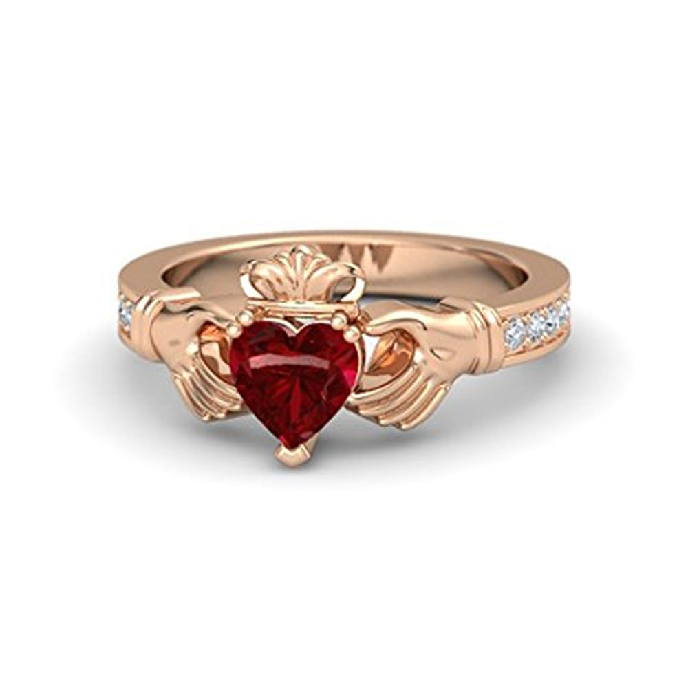 Lovely Heart Cut 1.16ct tw Red Ruby /& White CZ Diamond Cladding Ring in 14k Rose Gold Plated Engagement Wedding Ring