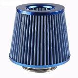"Universal 3"" Inlet Cold Air Intake Chrome Short Ram Intake Open Top Cone Air Filter Lexitek (Blue)"