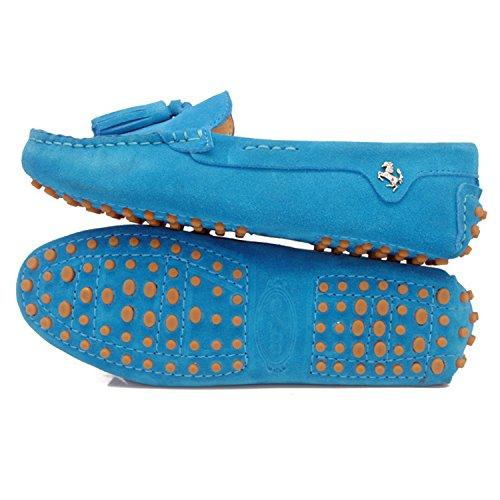 Blue Girsl Müßiggänger zum Veloursleder Schnüren Casual Minitoo Slip Sky Driving Quasten Schuhe on Damen Wohnungen 6wg4daqa