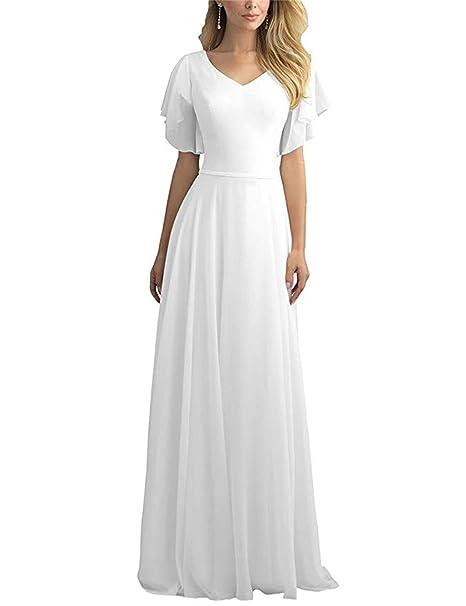 ANJURUISI Vestido de Boda Largo de la Playa del V-Cuello de Las Mujeres Vestido de Novia gastado de la Longitud del Piso del Piso: Amazon.es: Ropa y ...