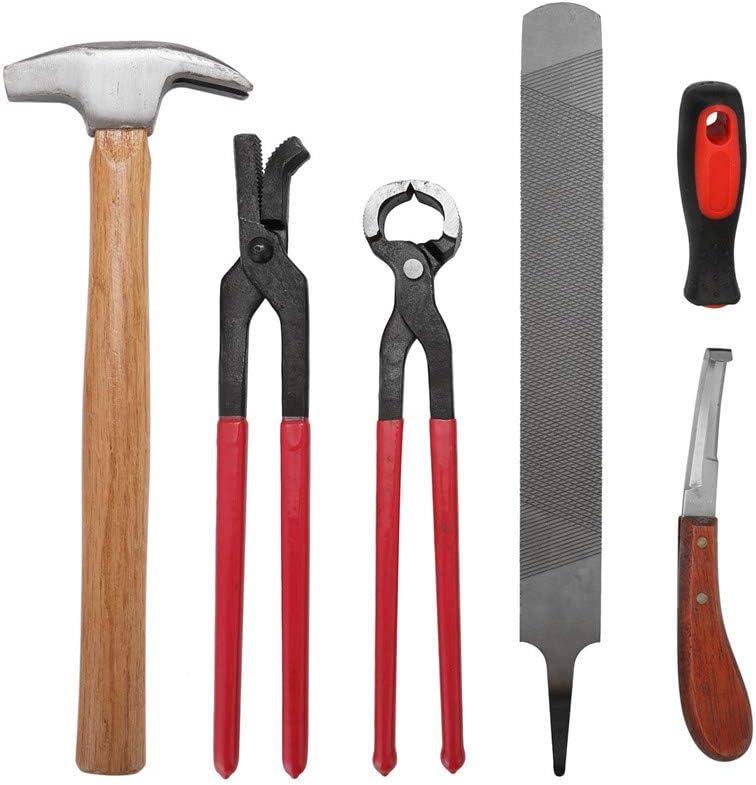 JIASHU Kit de pezuña para herrador de 6 Piezas, Equipo para herrajes para Cuidado de pezuñas para Caballos Kit de herraje para habitación de Tachuela, Pinza para pezuña, Mango de plástico, escofina