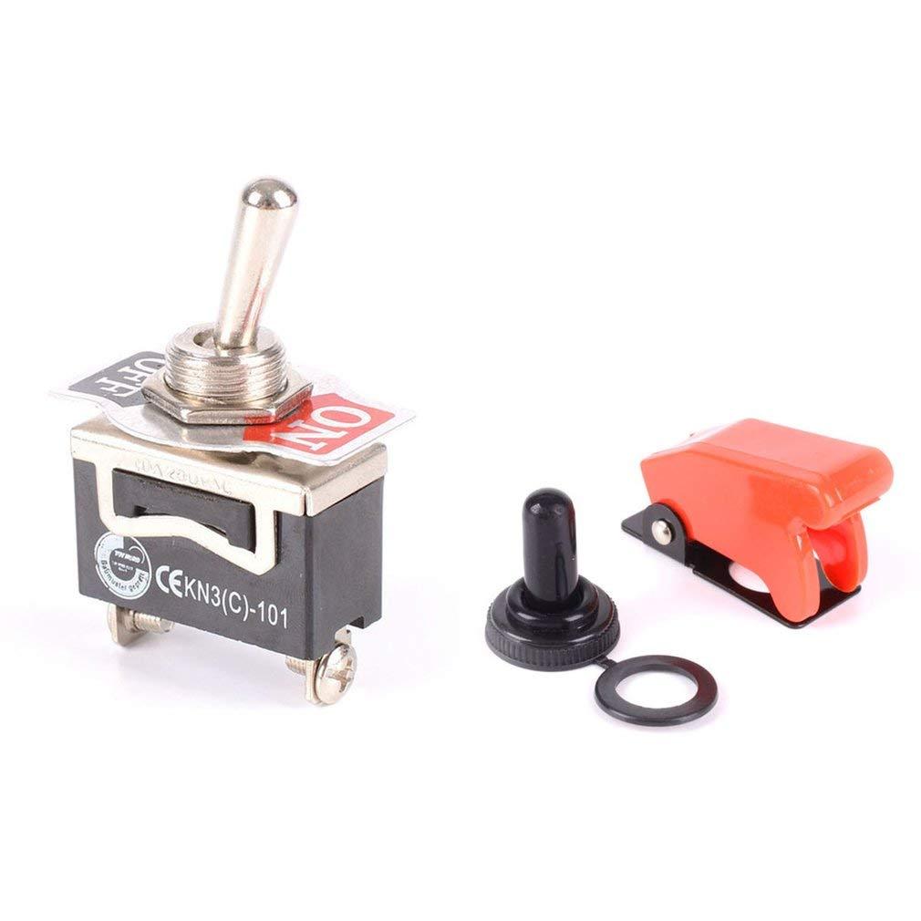 leoboone Durable Car Racing interrupteur /à bascule Flick ON//OFF SPST interrupteur /à bascule levier en m/étal Light Car Dash avec Missile Couverture rouge noir