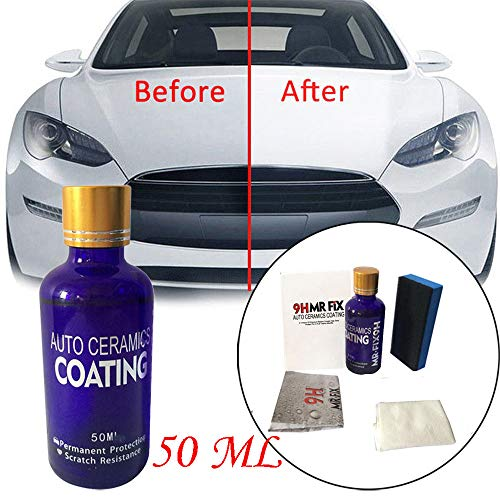 USHOT MR.FIX Nonflammable 9H Ceramic 50ML Car Oxidation Liquid Ceramic Coat Super Hydr White One Size - Peel 50 Car