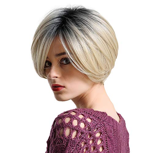 Emmor Short Blonde Human Hair Wigs for Women Mix Healthy Synthetic Fiber- Ombre Blend Bobo Wig Dark Root Side Part,Natural Daily Use Hair (Best Ombre Short Hair)