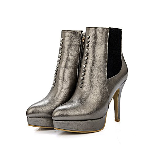 VogueZone009 Damen Stiletto Weiches Material Reißverschluss Niedrig-Spitze Stiefel Golden