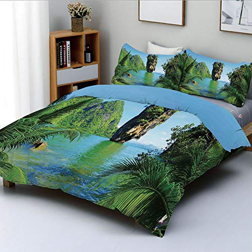 (Duplex Print Duvet Cover Set Queen Size,James Bond Island Phang Nga in Thailand Filming Cliff Geological Formation TropicsDecorative 3 Piece Bedding Set with 2 Pillow Sham,Green Blue,Best Gift For Kid )