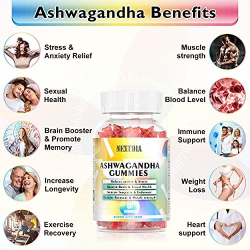 Ashwagandha Gummies for Men & Women 2 Pack, Ashawanga Root with Maca Help Stress Relief, Rest & Relax, Improves Sleep & Mood, w/Magnesium l-Threonate, Vegan, Non-GMO, Gluten & Gelatin Free 120 Count