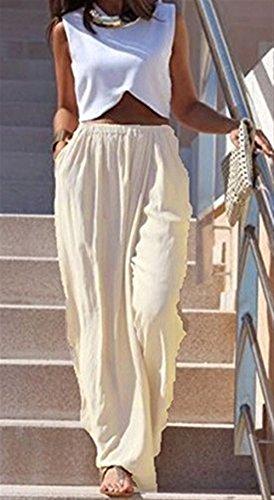 Automne Longues Manche Uni Haute Femme Large Style Spcial Elgante Palazzo Pantalons Bouffant Aprikose Trousers Pantalons Taille Pantalon Pantalon Jupe zESqw