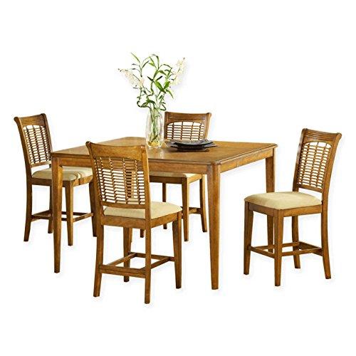 5-Piece 54-Inch Round Dining Set in Oak