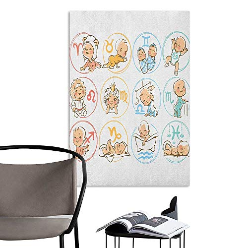 Brandosn Scenery Wall Sticker Astrology Set of Zodiac Sign with Cute Colorful Baby Figures Sleeping Cute Characters Print Multicolor for Kids Rooms Boy Room W20 x H28 -