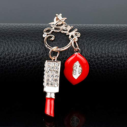 - NTNH12 Clasp Keyring Red Enamel Mouth Keychains Women Handbag Pendants