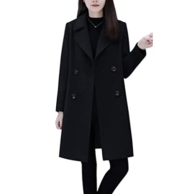 chouyatou Women's Basic Essential Double Breasted Mid-Long Wool Blend Pea Coat: Clothing