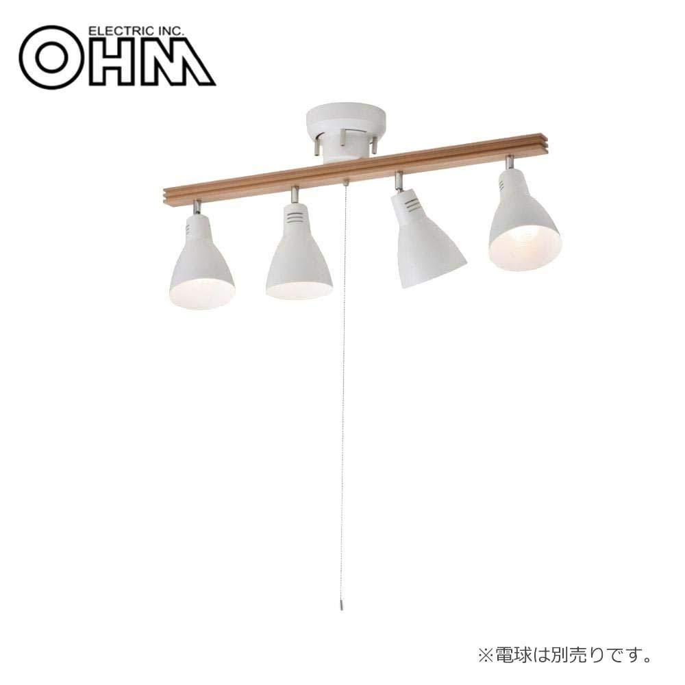 木とスチールの組み合わせがおしゃれな4灯シーリングライト。 オーム電機 OHM 室内照明器具 4灯シーリングライト ホワイト 電球別売 LT-YN40AW-W 〈簡易梱包 B07S39MS61