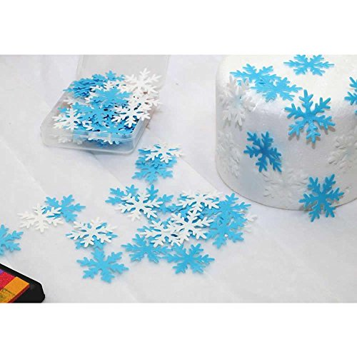 GEORLD Set of 48 Edible Snowflakes Cupcake & Cake Toppers Christmas Winter Party Decoration 2 Colors(White and Blue) by GEORLD (Image #2)