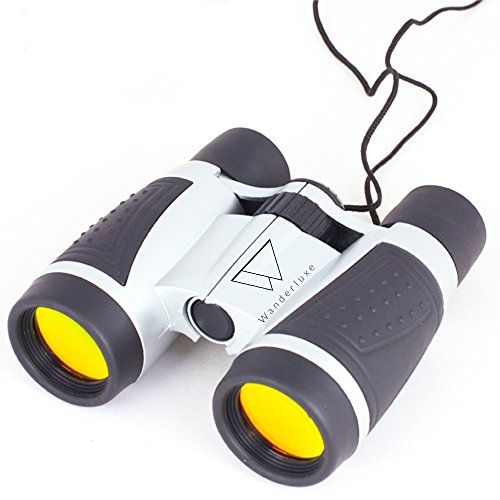Binoculars for Kids: Wanderluxe 4 x 30, Compact & Waterproof - Toy, Lightweight, Wide View, Portable & Folding, Great for Outdors, Camping, Bird Watching, Playtime, Exploration - Can Make A Face Smaller Who