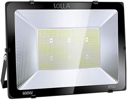 SOLLA 600W LED Flood Light, IP66 Waterproof, 48000lm, 3300W Equivalent, Super Bright Security Light, 6000K Daylight White, Exterior Lighting Outside Floodlight LED Stadium Light Spotlight Wall Light