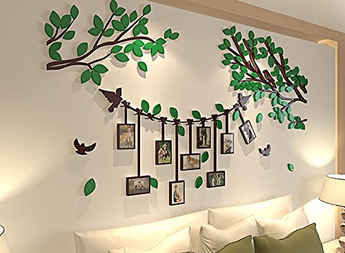 Spring Country 3D Tree Wall Stickers With Photo Frames | Acrylic Room Three-Dimensional Decal | Family Wall Decor Home Improvement Memory With Children | Nursery Room Wall Stickers | 60 Inch 34 Inch (Wall Decor Tree)