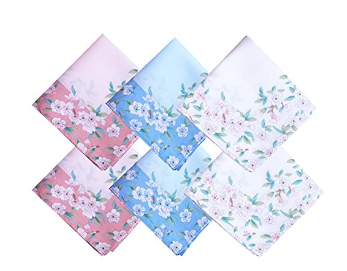 Ladies Handkerchiefs 100% Premium 60s Cotton Womens Hankies 17