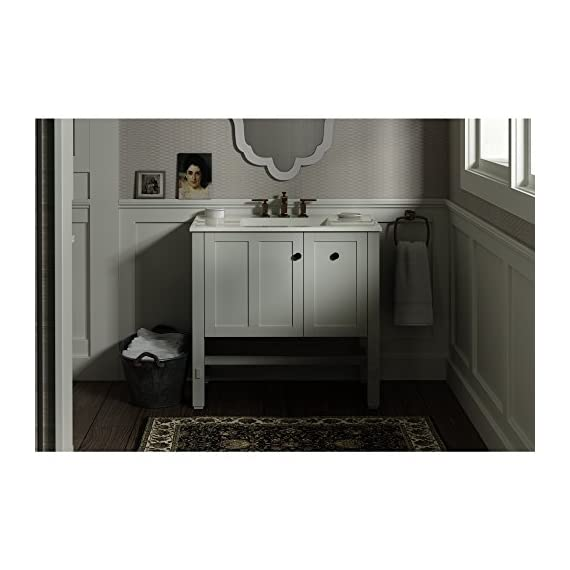 "KOHLER K-5288-1WA Tresham vanity, 36"", Linen White - Finishes resists moisture, scratches and stains One door and two drawers Three-way adjustable slow-close door hinges with 100-degree opening capability for easy cabinet access - bathroom-vanities, bathroom-fixtures-hardware, bathroom - 516TTYethwL. SS570  -"