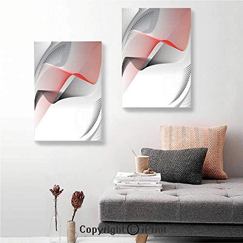 SfeatruRWF 2 Piece Multi Panel Hanging Canvas,Modern Digital Composition with Geometric Elements Squares Dots Curves Waves Decorative,24