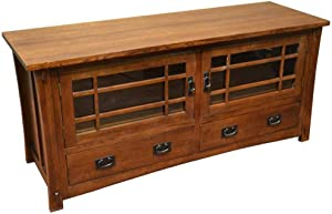 Crafters & Weavers Mission Style Solid Oak Tv Stand Entertainment Console