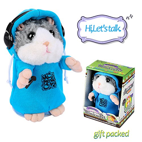 Talking Hamster Repeats What You Say, Cute Plush Electronic Mimicry Hamster Toy with Interactive Function, Gift for Kids Birthday and Parties - Valentines Day Ideas Dance