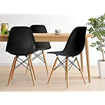 Inspirer Studio® Set of 4 New 17 inch SeatDepth Eames Style Side Chair with Natural Wood Legs Eiffel Dining Room Chair Lounge Chair Eiffel Legged Base Molded Plastic Seat Shell Top side chairs (Black)