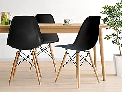 Inspirer StudioR Set Of 4 New 17 Inch SeatDepth Eames Style Side Chair With Natural Wood Legs Eiffel Dining