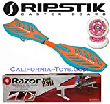 Green/Orange Brights Razor Ripstik Castor Board with PUNK RAIL & Extra Set of 76mm PINK RIPSTIK Replacement Wheels