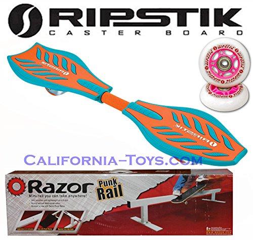 Green/Orange Brights Razor Ripstik Castor Board with PUNK RAIL & Extra Set of 76mm PINK RIPSTIK Replacement Wheels (Skateboard Razor Rail Punk)